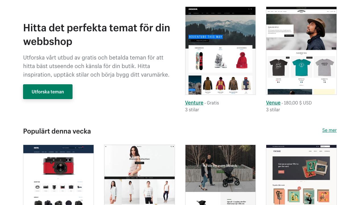 mallar för att göra egen webbshop